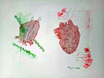 Series - From Heart / Title - Roses and thorns Hearts / Year - 2017 / Size - 38x26 cm / Media - Mixed Media on Paper / Price - 1,000 Euro